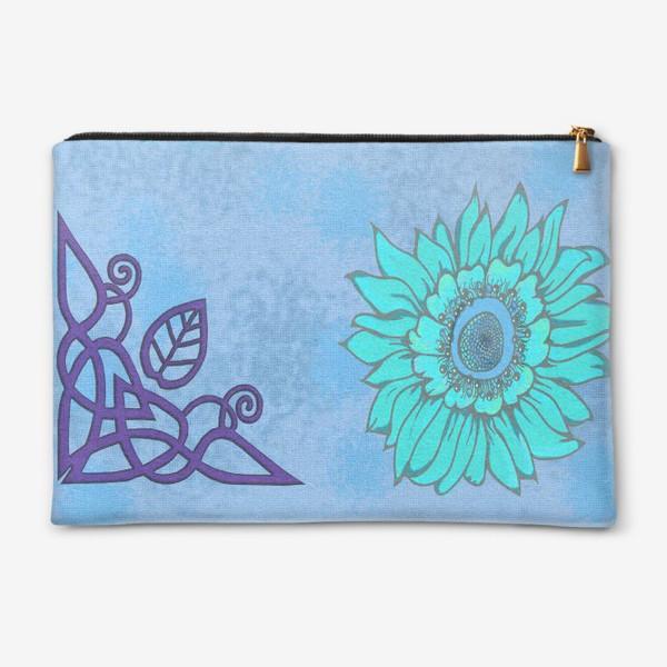 Косметичка «Панно цветочное кельтские узоры голубое»