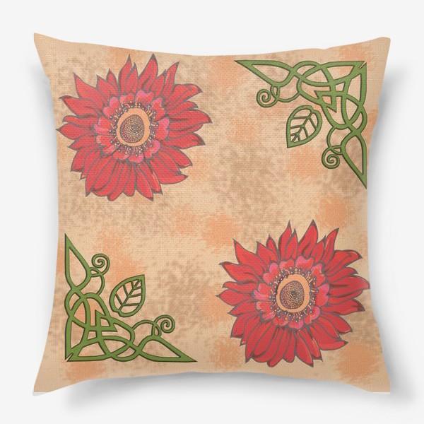 Подушка «Панно цветочное кельтские узоры »