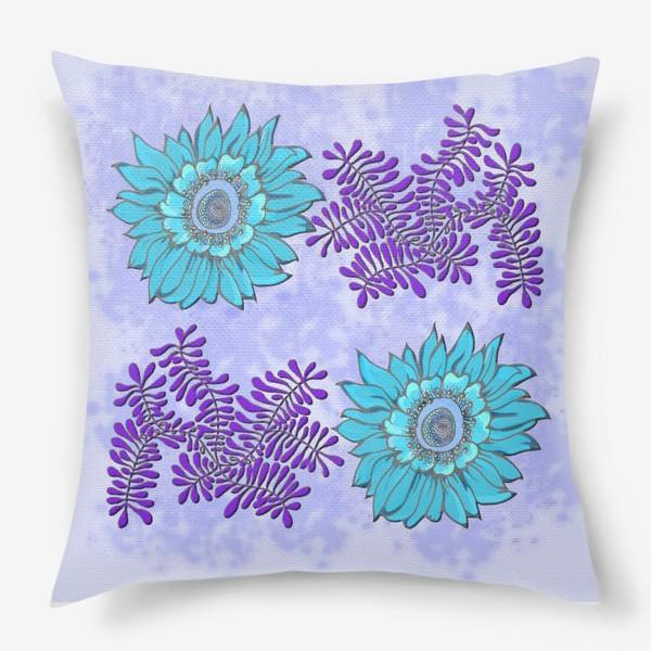 Подушка «панно цветочное синее»