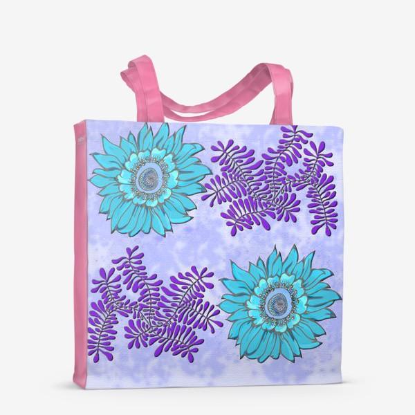 Сумка-шоппер «панно цветочное синее»