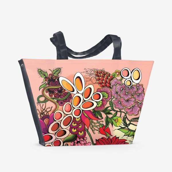 Пляжная сумка «Дудлинг цветочный красный»