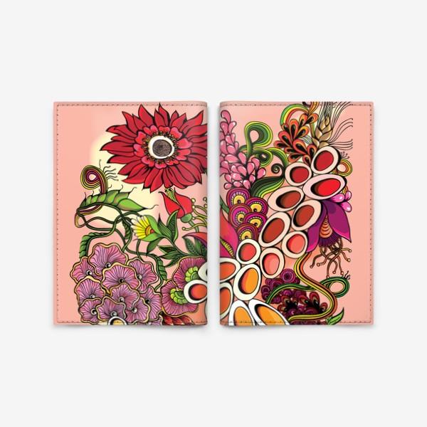 Обложка для паспорта «Дудлинг цветочный красный»
