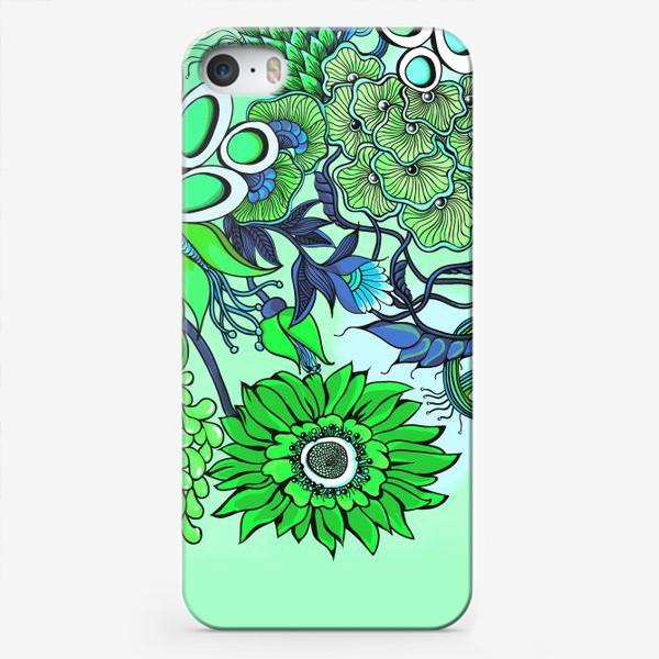 Чехол iPhone «Дудлинг цветочный зеленый»