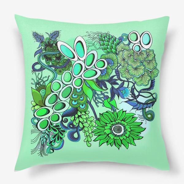 Подушка «Дудлинг цветочный зеленый»