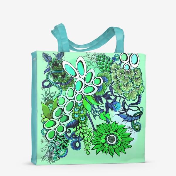Сумка-шоппер «Дудлинг цветочный зеленый»
