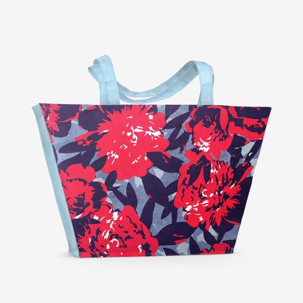 Пляжная сумка «Красные пионы»