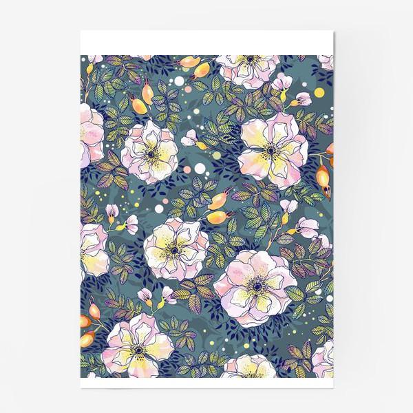 Постер «Цветущий шиповник. Blooming dog rose»