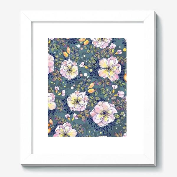 Картина «Цветущий шиповник. Blooming dog rose»