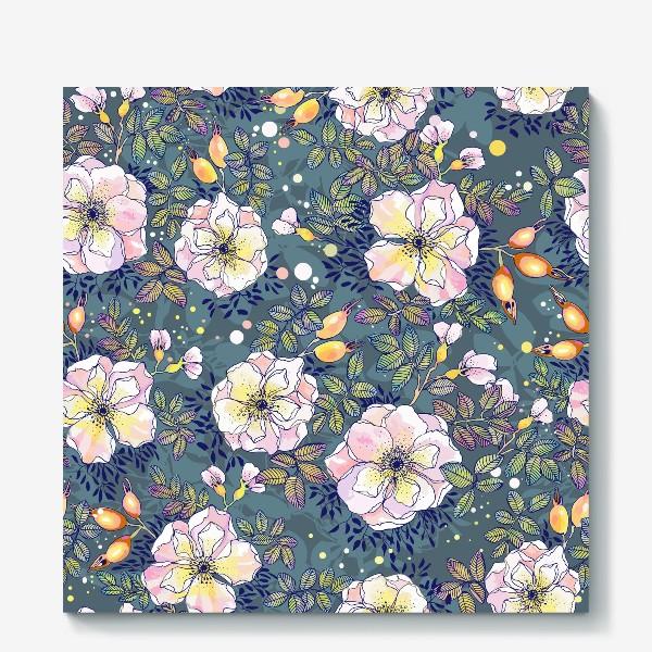Холст «Цветущий шиповник. Blooming dog rose»