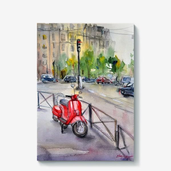 Холст «Красный мопед на улице»