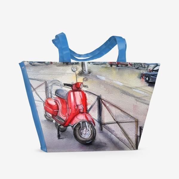 Пляжная сумка «Красный мопед на улице»