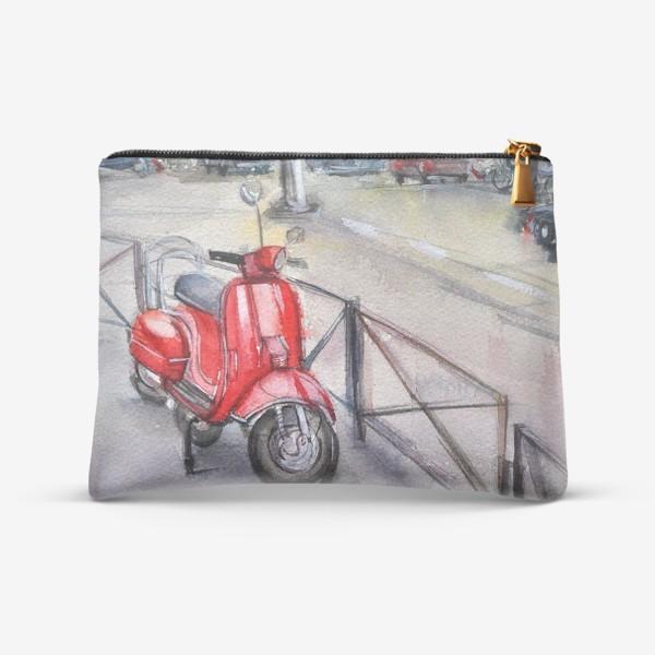 Косметичка «Красный мопед на улице»