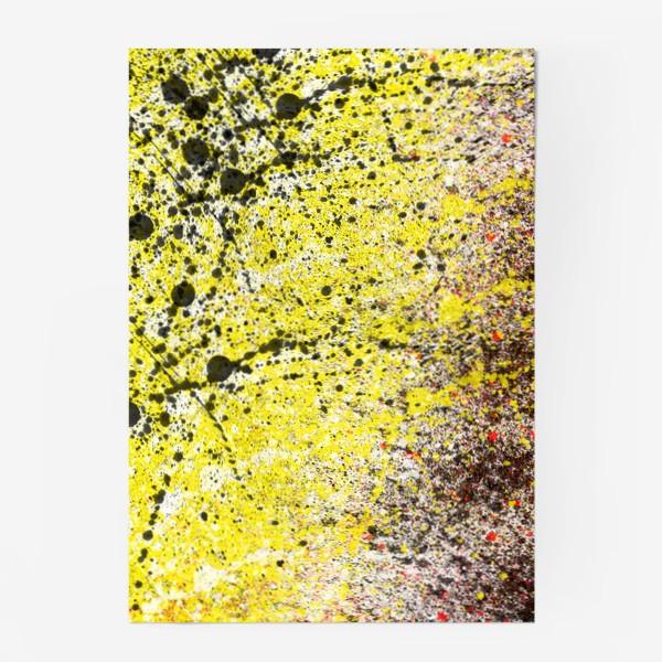 Постер «Черные пятна краски на желтом фоне»