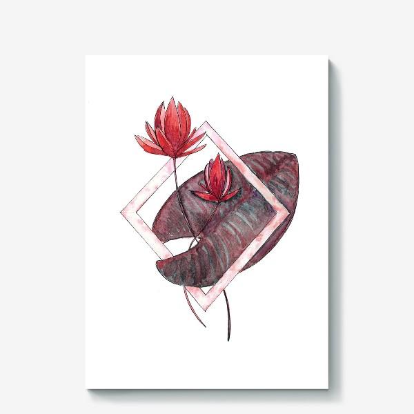 Холст «Цветочная геометрия: Красная кувшинка»