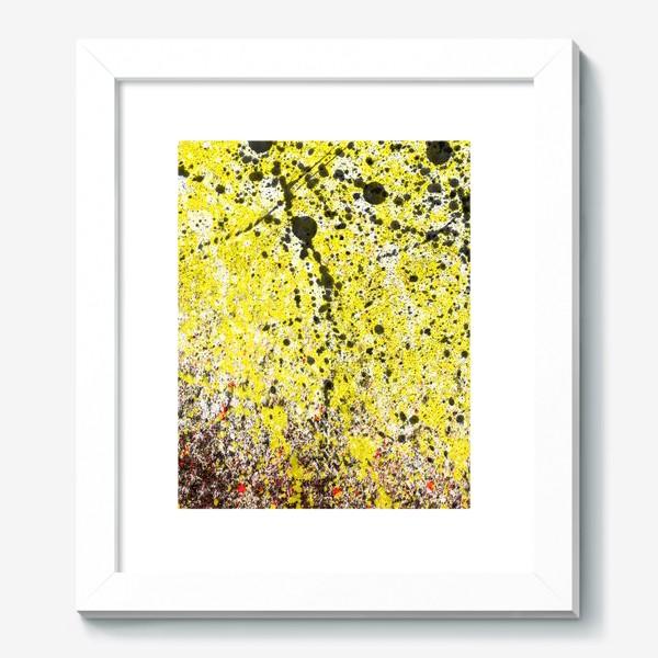 Картина «Черные пятна краски на желтом фоне»