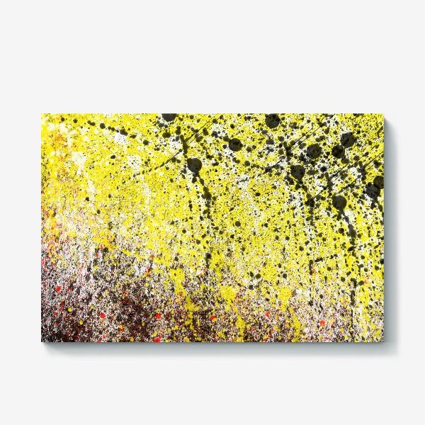 Холст «Черные пятна краски на желтом фоне»