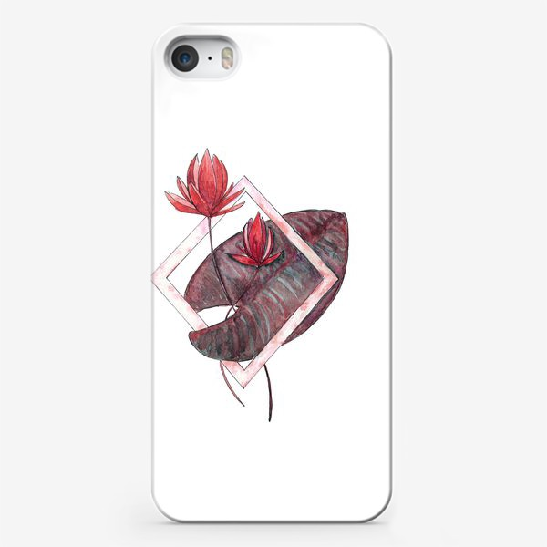 Чехол iPhone «Цветочная геометрия: Красная кувшинка»