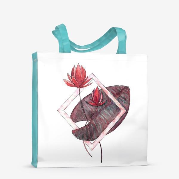 Сумка-шоппер «Цветочная геометрия: Красная кувшинка»
