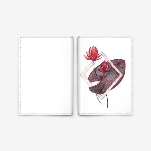 Обложка для паспорта «Цветочная геометрия: Красная кувшинка»