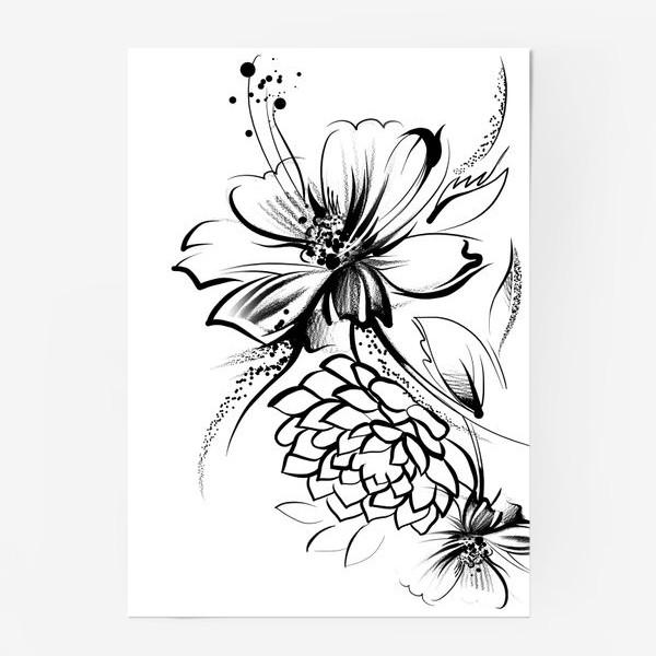 Постер «Ромашка и роза на белом фоне»