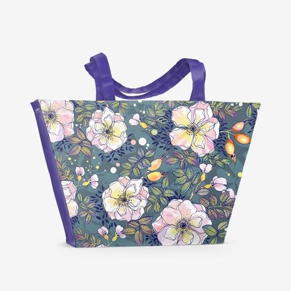 Пляжная сумка «Цветущий шиповник. Blooming dog rose»
