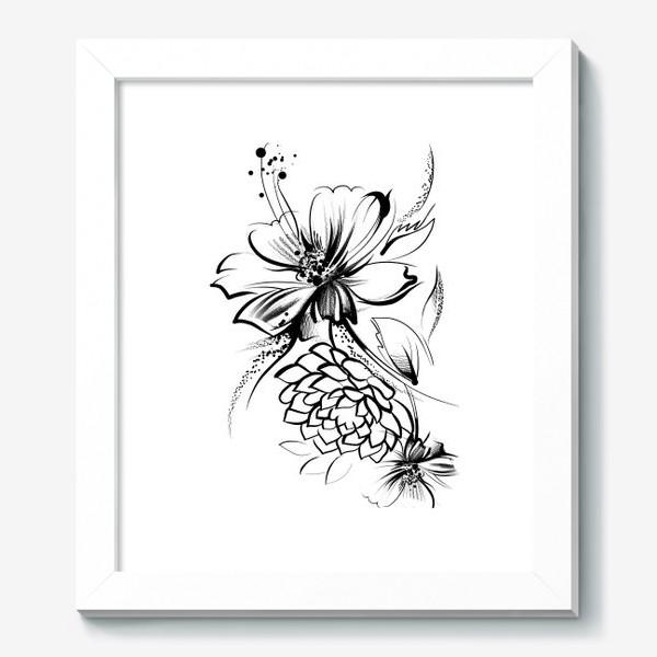 Картина «Ромашка и роза на белом фоне»