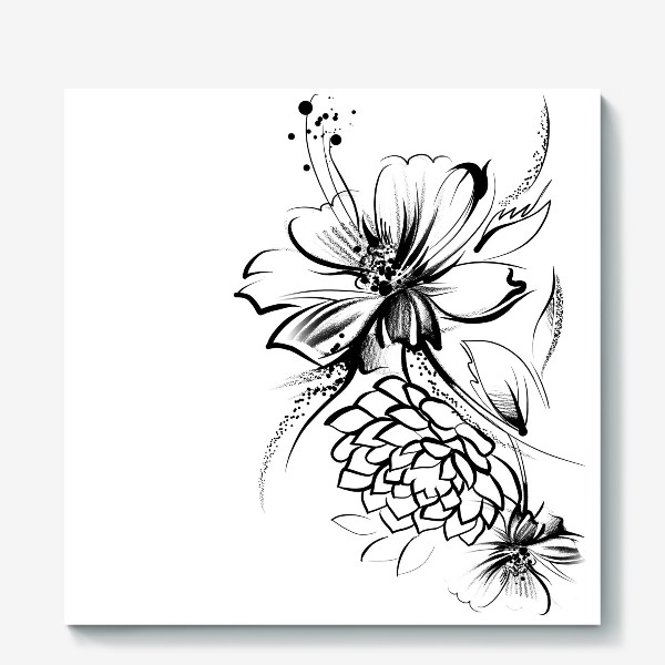 Холст «Ромашка и роза на белом фоне»