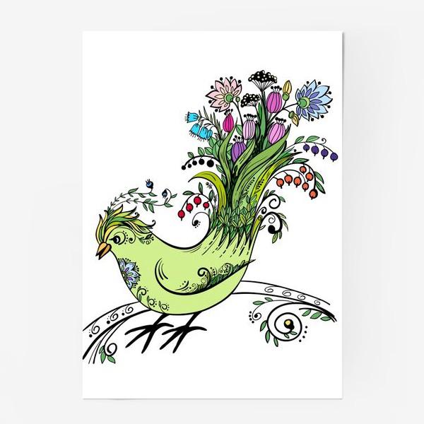 Постер «Птичка - букет»