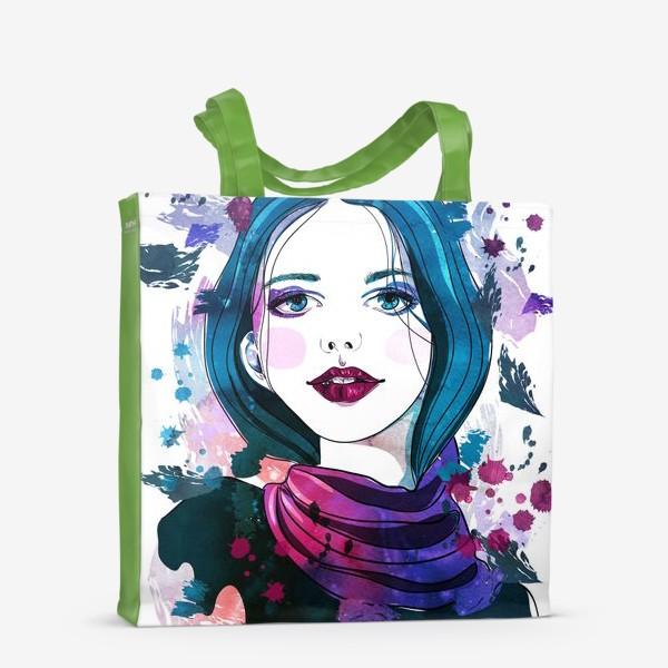 Сумка-шоппер «Девушка с синими волосами»