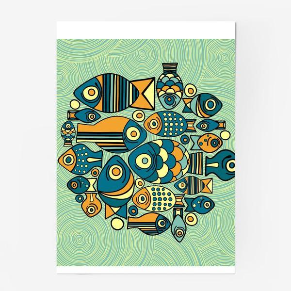 """Постер «Подводный мир. Орнамент """"Рыбы""""»"""