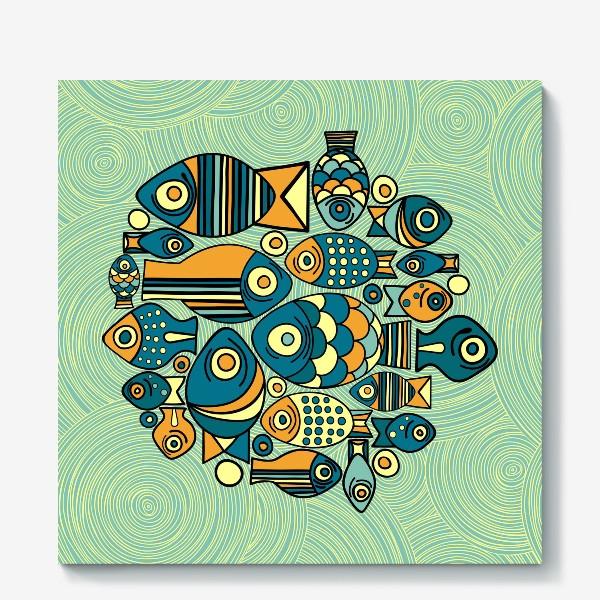 """Холст «Подводный мир. Орнамент """"Рыбы""""»"""