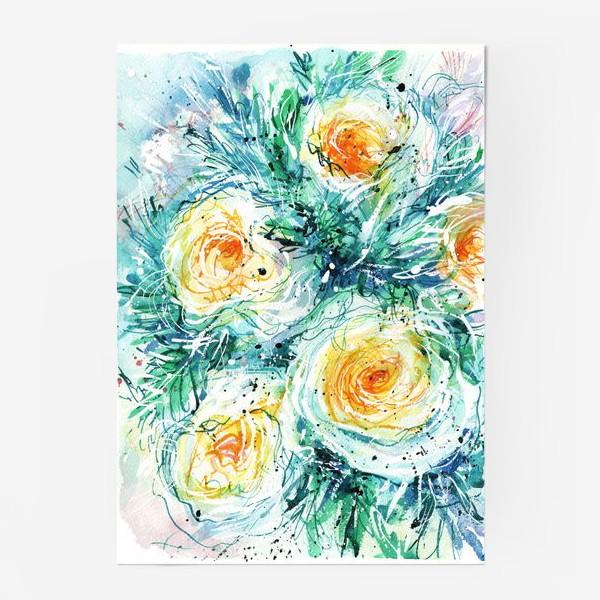 Постер «букет желто-белых роз крупным планом, акварель»