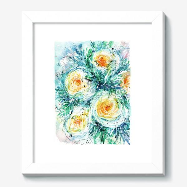 Картина «букет желто-белых роз крупным планом, акварель»