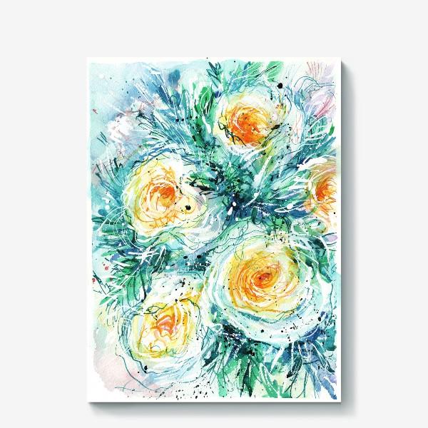 Холст «букет желто-белых роз крупным планом, акварель»