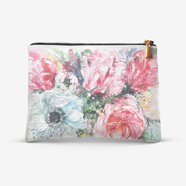 Косметичка «букет из розовых тюльпанов с голубым маком, акварель»
