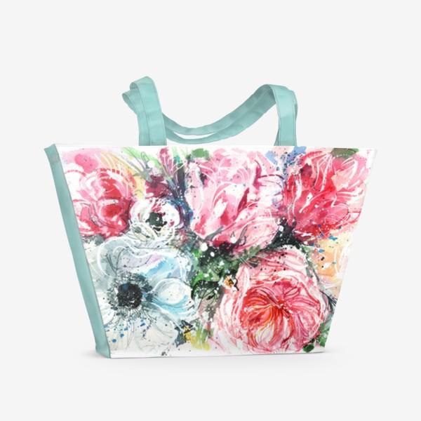 Пляжная сумка «букет из розовых тюльпанов с голубым маком, акварель»
