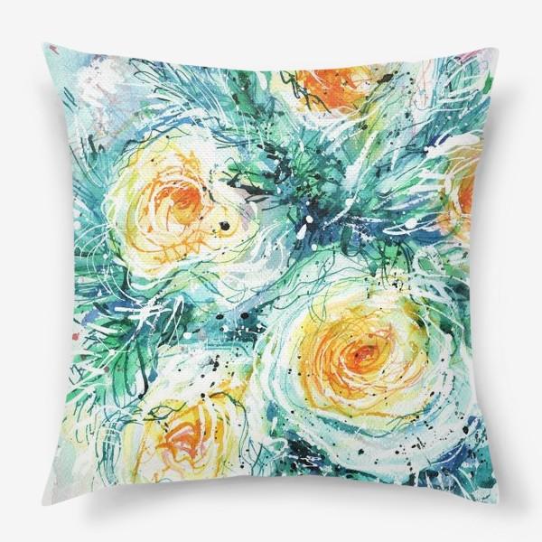 Подушка «букет желто-белых роз крупным планом, акварель»