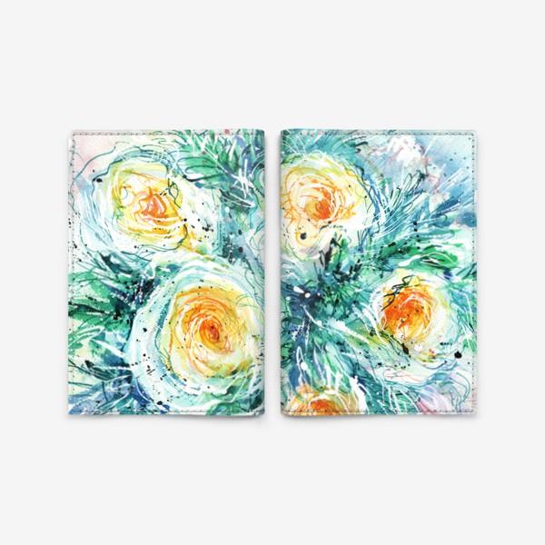 Обложка для паспорта «букет желто-белых роз крупным планом, акварель»
