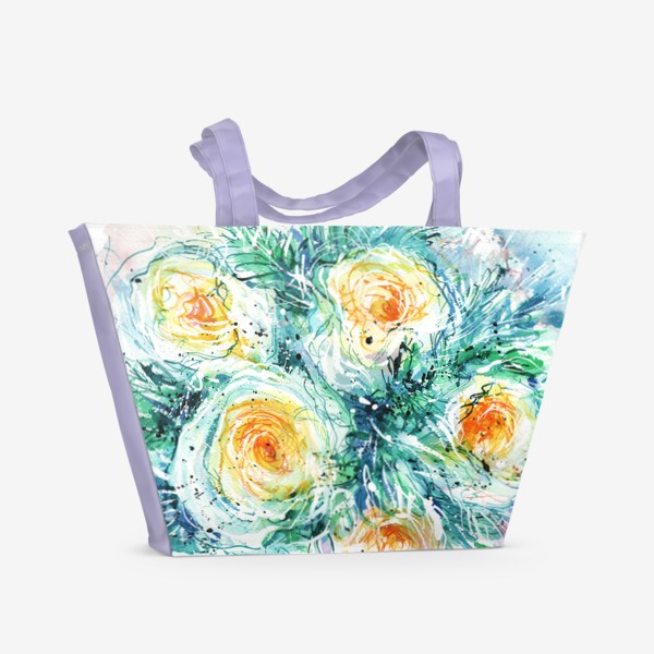 Пляжная сумка «букет желто-белых роз крупным планом, акварель»