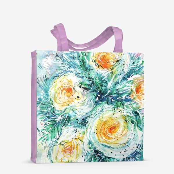 Сумка-шоппер «букет желто-белых роз крупным планом, акварель»