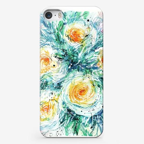 Чехол iPhone «букет желто-белых роз крупным планом, акварель»