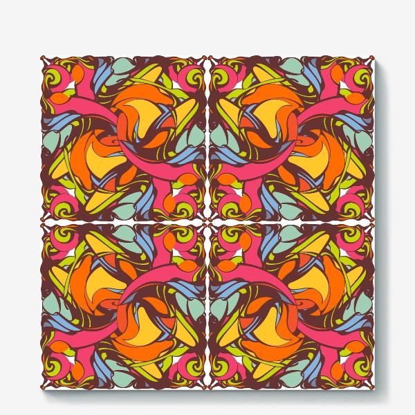 Холст «Абстрактный оранжевый узор»