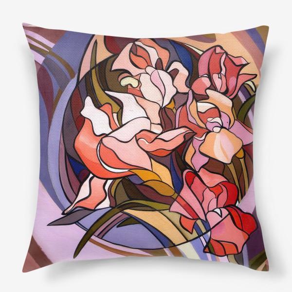 Подушка «Ирисы в стиле модерн»