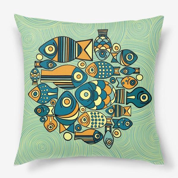 """Подушка «Подводный мир. Орнамент """"Рыбы""""»"""