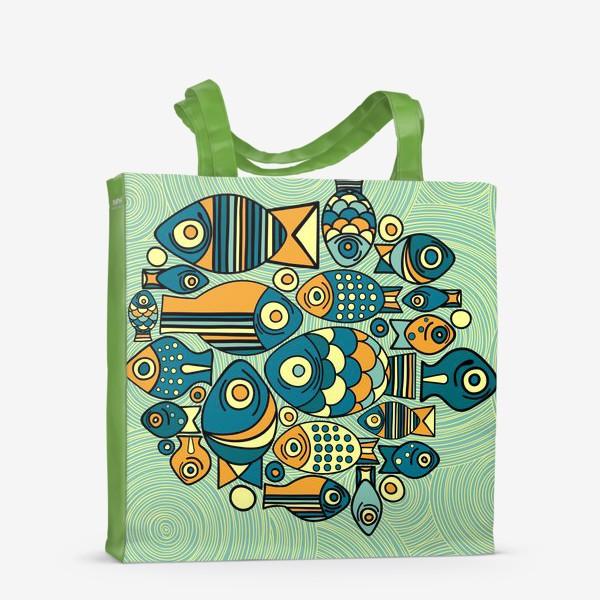 """Сумка-шоппер «Подводный мир. Орнамент """"Рыбы""""»"""