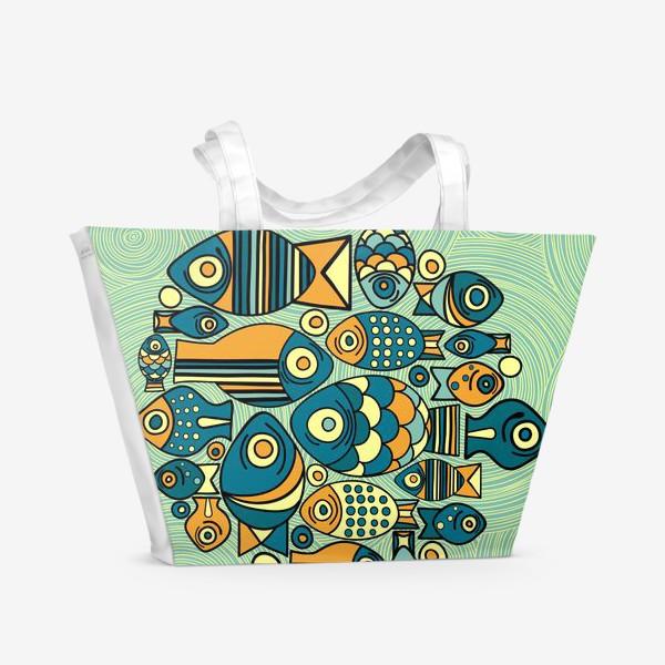 """Пляжная сумка «Подводный мир. Орнамент """"Рыбы""""»"""