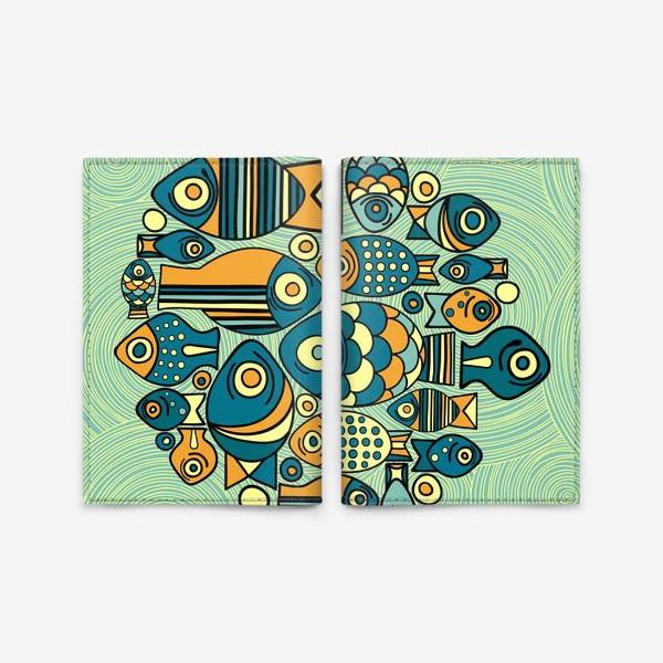 """Обложка для паспорта «Подводный мир. Орнамент """"Рыбы""""»"""
