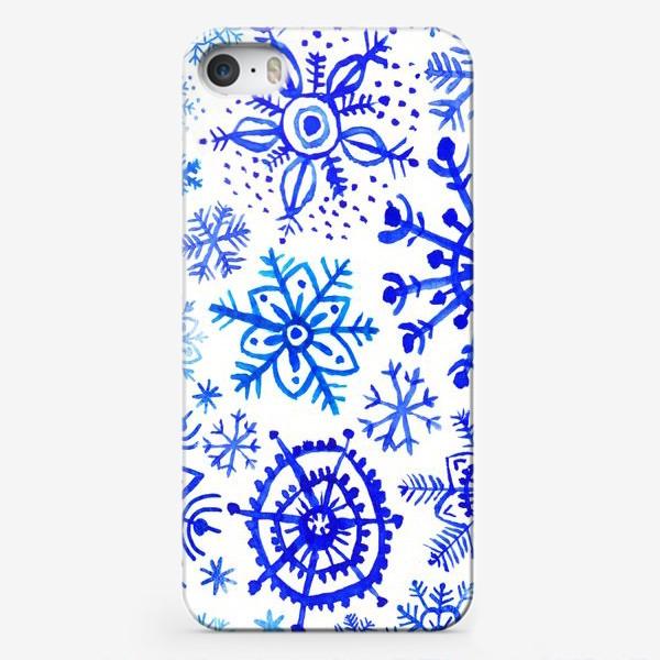 Чехол iPhone «Снежинки гжель»