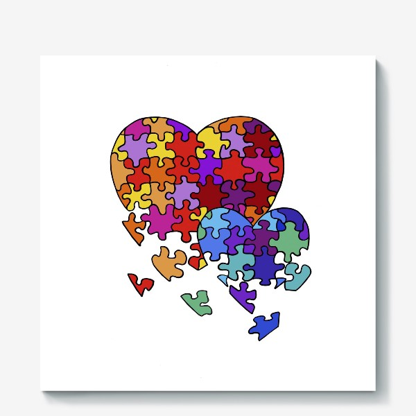 Холст «Сердца-пазлы»