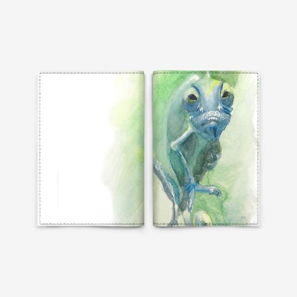 Обложка для паспорта «Синий хамелеон»